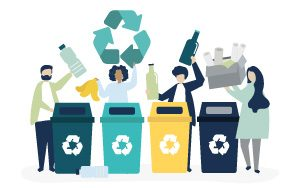 Illustration people recycling